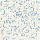 Medizinisches nahtloses Muster auf weißem Karopapier Lizenzfreies Stockbild