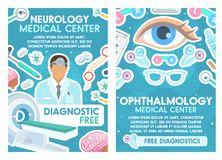 Medizinisches Plakat Neurologie- und Augenheilkundedoktoren lizenzfreie abbildung