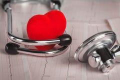 Medizinisches Stethoskop mit Kardiogramm- und Rotherzen Stockfotografie