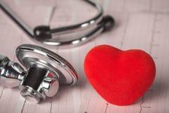 Medizinisches Stethoskop mit Kardiogramm- und Rotherzen Lizenzfreie Stockbilder