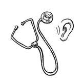 Medizinisches Stethoskop und menschliches Ohr Lizenzfreies Stockbild