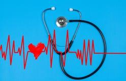 Medizinisches Stethoskop und rotes Herz mit Kardiogramm Übung ist der beste Doktor Stockfoto