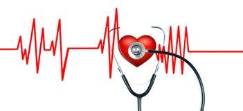 Medizinisches Stethoskop und rotes Herz mit Kardiogramm Übung ist der beste Doktor Lizenzfreies Stockbild