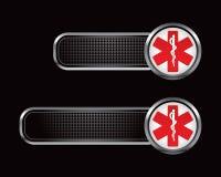 Medizinisches Symbol des Caduceus auf schwarzen checkered Tabulatoren Lizenzfreie Stockfotografie