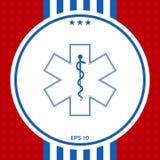 Medizinisches Symbol des Notfalls - Stern der Lebenikone Stockfotos