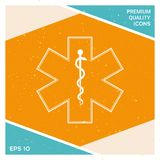 Medizinisches Symbol des Notfalls - Stern der Lebenikone Stockbilder