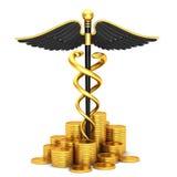 Medizinisches Symbol des schwarzen Caduceus und Goldmünzen Stockfotos