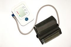 Medizinisches tonometer, Blutdruckmessgerät lokalisiert auf Weiß stockbild