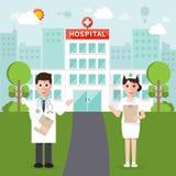 Medizinisches und des Krankenhauses flaches Design Lizenzfreie Stockbilder