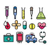 Medizinisches und Gesundheitsikonenset vektor abbildung
