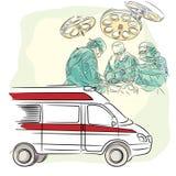 Medizinkonzept: Chirurgen, Doktoren und Krankenschwestern, Krankenwagen stock abbildung