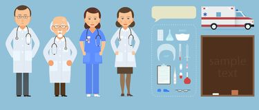 Medizinsatz mit Doktor und Krankenschwestern in der flachen Art lokalisiert auf blauem Hintergrund Junger Doktormann und -frau de Lizenzfreie Stockfotos