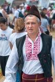 Medlem av den nationella festivalen av Rozhen i Bulgarienhatt arkivfoto