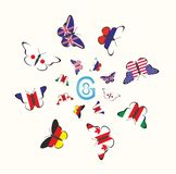 Medlemmar av G8en grupperar att föreställa fjärilen G8 Arkivbild