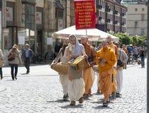 : medlemmar av haren Krishna Royaltyfria Bilder