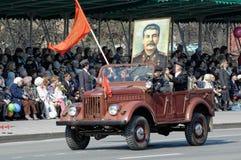 Medlemmar av KPRF på SUV i Victory Day ståtar Royaltyfri Foto