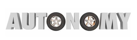 Medlet för den autonomichaufförAssist Self Driving bilen presenterar Technol Arkivbild