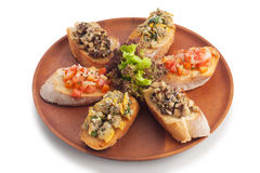 Medley bruschetta Stock Photos