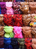 Medley of colorful scarfs Stock Images