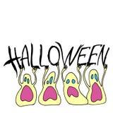 Medo assustador dos desenhos animados da ilustração do Dia das Bruxas do vetor de Ghost ilustração stock
