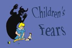 Medo das crianças, sombra na parede ilustração stock