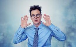 Medo profundo do homem de negócios no fundo Fotos de Stock Royalty Free