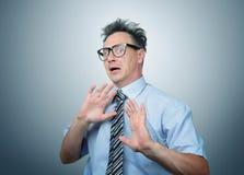Medo profundo do homem de negócios nos vidros Imagens de Stock Royalty Free