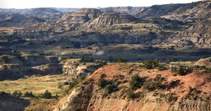 Medora north dakota usa badlands burning hills. As you drive or hike through western North Dakota, the gently rolling hills open up dramatically into the varied royalty free stock images