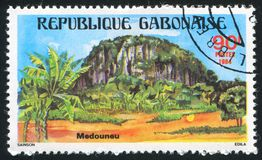 Medouneu. GABON CIRCA 1984: stamp printed by Gabon, shows View of Medouneu, circa 1984 stock photo