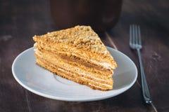 Medovik - płatowaty miodowy tort na bielu talerzu zdjęcia royalty free