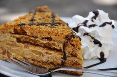 Medovnik, traditional Honey Cake. Traditional Honey Cake on Plate stock image