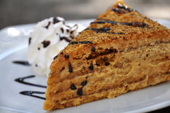 Medovnik, traditional Honey Cake. Traditional Honey Cake on Plate Royalty Free Stock Photography