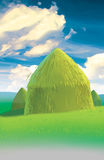 Medow and haystack Stock Image