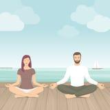 Medtation practicante de los pares al aire libre libre illustration