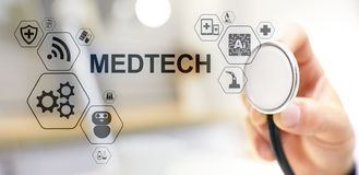Medtech medical technology information integration internet big data concept on virtual screen. Doctor with stethoscope. Medtech medical technology information royalty free stock photography