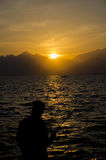 Medterranean denny zmierzch, Zadziwiający zmierzch w Antalya Obrazy Royalty Free