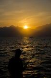 Medterranean sea sunset, Amazing sunset in Antalya, Fisherman Royalty Free Stock Images