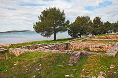 Medulin, Pula, Istria, Croatia: archaeological site on the seashore. Medulin, Pula, Istria, Croatia: the remains of an ancient Roman villa built over 2000 years royalty free stock images