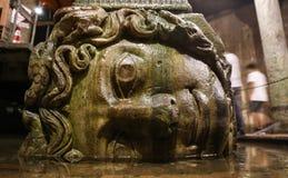 Medusa βάση στηλών στη δεξαμενή βασιλικών, πόλη της Ιστανμπούλ Στοκ Φωτογραφίες