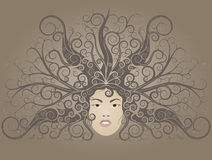 Medusa. Head hair. Hair is styled ornament Royalty Free Stock Photography