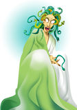 Medusa. Creature from Greek mythology with snakes on the head, color illustration Royalty Free Stock Images