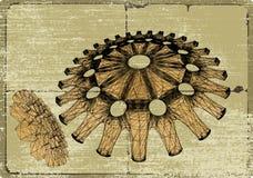 Medusa cog wheels. Cog wheel sketch on a parchment Stock Images