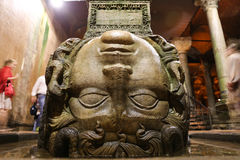 Medusa column base in Basilica Cistern, Istanbul City Stock Images