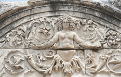 Medusa Detail Stone. Medusa Detail of Hadrian's Temple, Ephesus, Izmir, Turkey Stock Photo