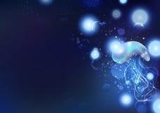 Medusa e micróbios, faísca de incandescência das partículas do oceano azul, animais da fantasia com bolhas no fundo do sumário do ilustração do vetor