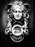 Medusa. Face on wooden door Stock Photo