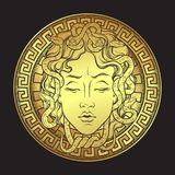 Medusa Gorgon golden head on a shield hand drawn line art and dot work print design isolated vector illustration. Gorgoneion is a Royalty Free Stock Images