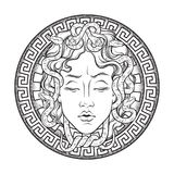 Medusa Gorgon head on a shield hand drawn line art and dot work tattoo or print design isolated vector illustration. Gorgoneion is Stock Images