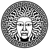 Medusa Gorgon head with snake hair. Illustration of Medusa Gorgon head with snake hair. Round meander illustration Vector Illustration