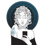 Medusa Gorgon selfie hand drawn line art and dot work pop print design isolated vector illustration. Stock Photography